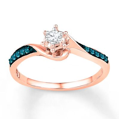 Diamond Promise Ring 1 6 Ct Tw Blue White 10k Rose Gold Black Hills Gold Jewelry Blue Diamond Engagement Ring Black Diamond Studs