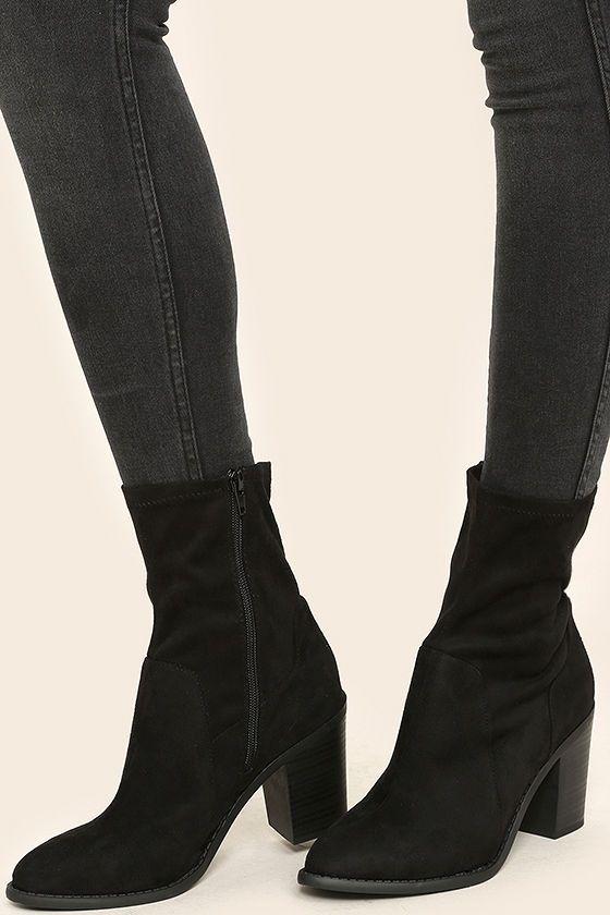 Opt In Black Suede High Heel Mid Calf Boots Suede High Heels Boots Mid Calf Boots