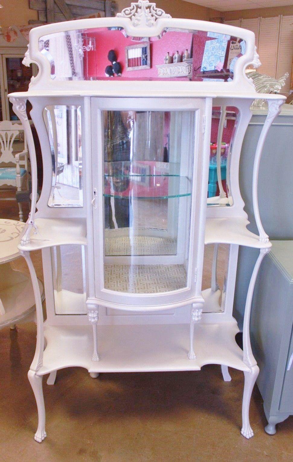 French White Glass U0026 Mirror Vitrine Curio Display Cabinet