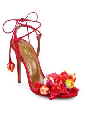 7d6dd6801a49c5 AQUAZZURA Tropicana Embellished Suede Sandals.  aquazzura  shoes  sandals