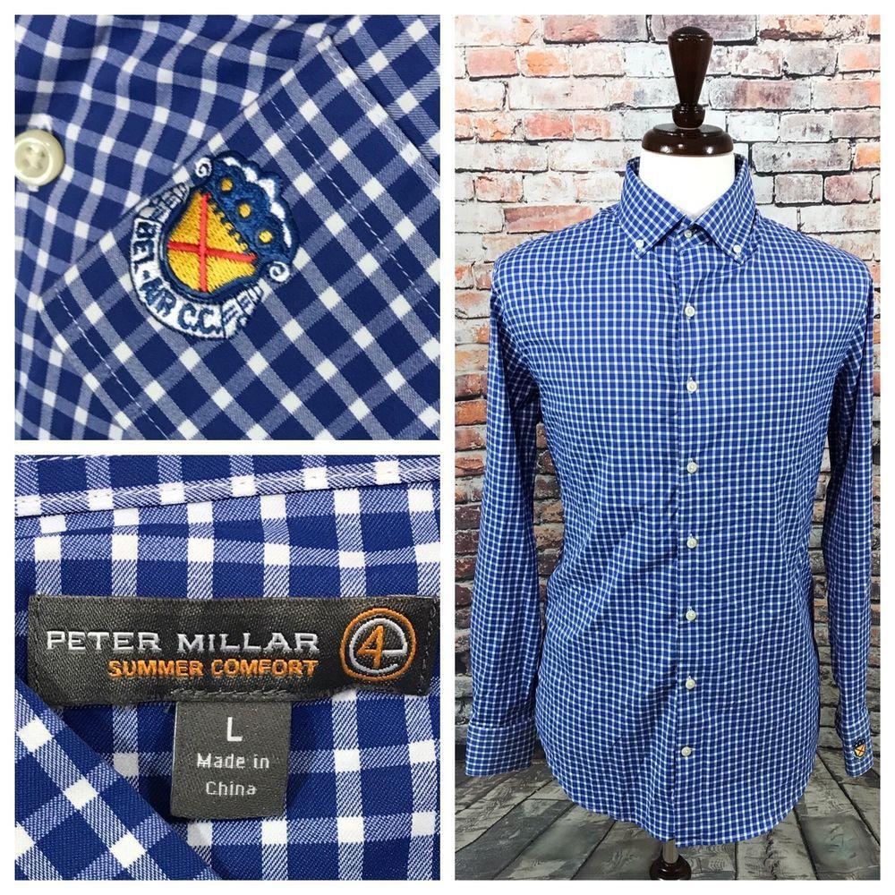 9e7bdb4687f Peter Millar Summer Comfort e4 LS Bel-Air C.C Checkered Blue Button Shirt  Mens L