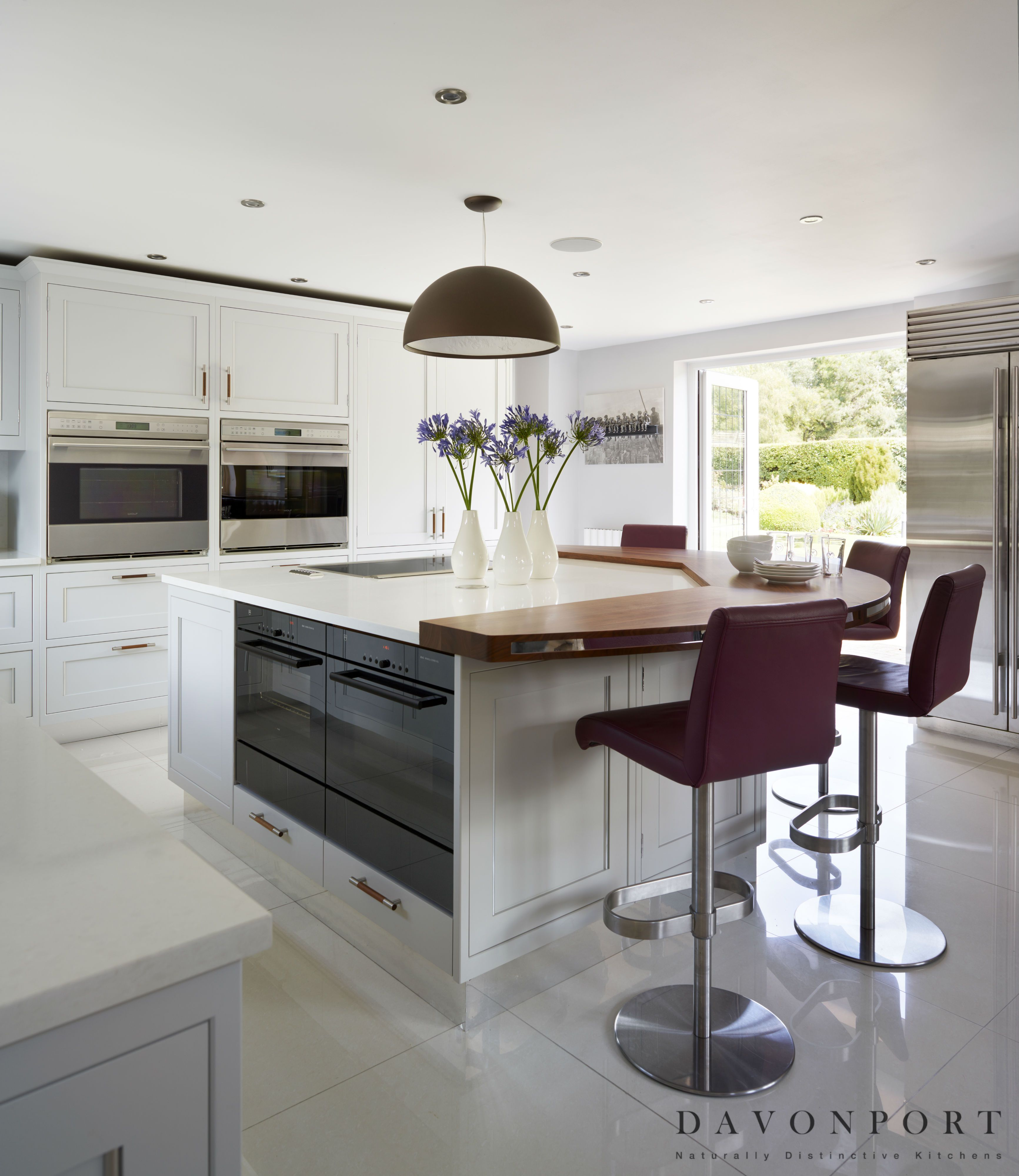 Purple Bar Stools And A Walnut Breakfast Lifts The Very Light Colour Palette