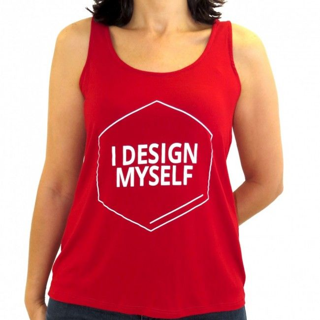 Camiseta Regata Feminina em viscolycra. Logotipo I Design Myself em silk.  9f0ee1d05fd04