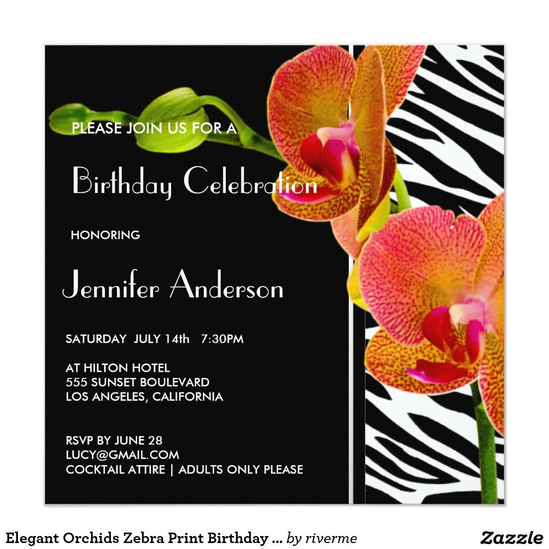 Elegant Orchids Zebra Print Birthday Party Invites   Feminine ...