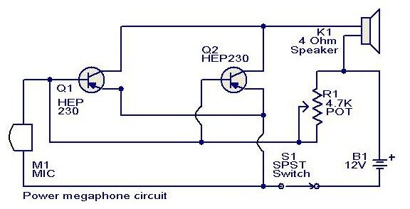 Powermegaphone Circuit Is A Carbon Type Like That Used In Telephone Hand Sets Any Power Transistor Can Be Used In This Me Electronics Circuit Power Circuit