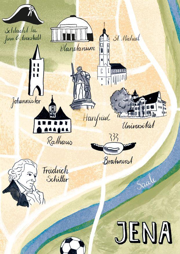 Jena postcard, illustration, map, sights, greeting card, thuringia ...