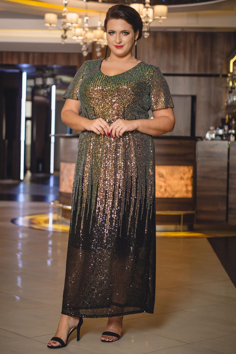 Sukienka Cekinowa Ombre Long Plus Size Sonia Czarno Zlota Promocja Sklep Internetowy Plus Size Fashion Style Plus Size