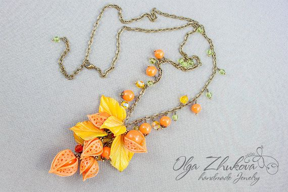 Pendant and earrings with cape gooseberry by polymerFlowers