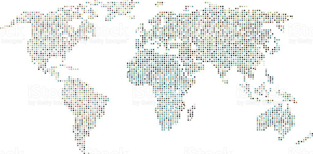 Colorful dotted world map on vector background vector background colorful dotted world map on vector background sciox Images