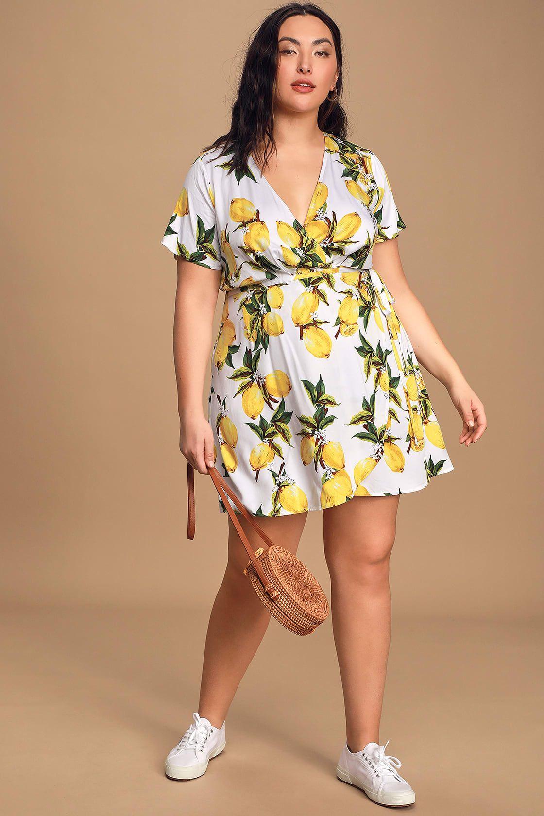 A La Tart White And Yellow Lemon Print Wrap Dress In 2020 Lemon Print Dress Plus Size Spring Dresses Cute White Dress [ 1680 x 1120 Pixel ]