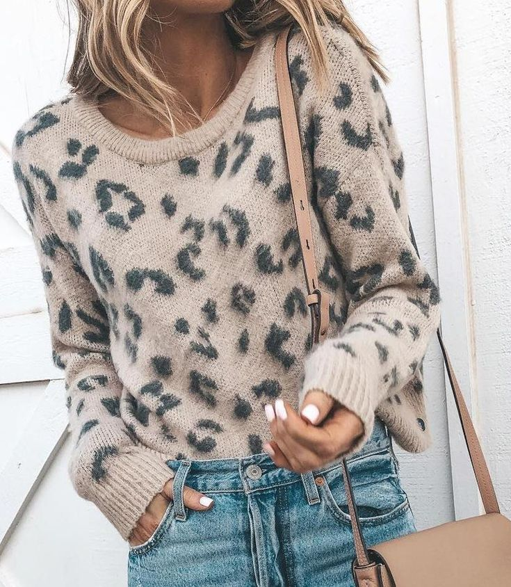 Casual Leopard Print Round Neck Knitted Sweater Casual Leopard Knitted Sweater  darlingjosephine