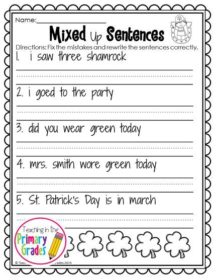 St Patrick S Day First Grade Activities Your First Graders Will Love To Review Math And Liter First Grade Activities Teaching First Grade March Math Centers Saint patricks day worksheets
