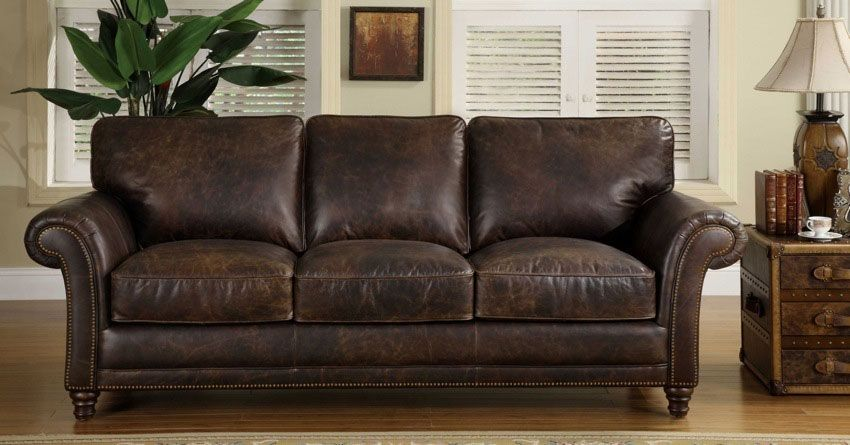 Leather Sofa Loveseat Heirloom Quality Vintage Leather Brown With Nailheads Brown Leather Couch Leather Sofa And Loveseat Distressed Leather Couch