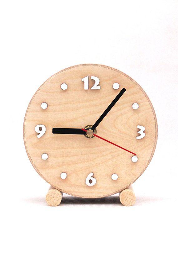 Small Wood Table Clock Circle Desk Wooden Clock School Clock