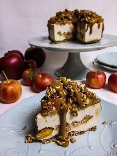 Vegan Caramel Apple Cheesecake