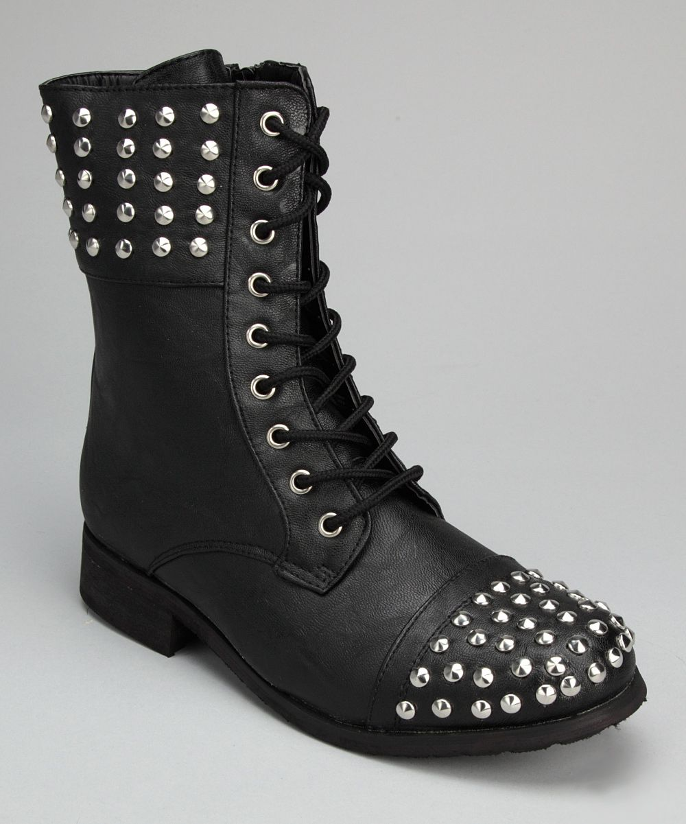Black & Silver Studded Boot.. I'd totally wear these!!