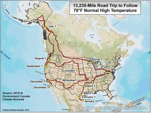 A YearLong US Road Trip For People Who Want Degree Weather - Us travel weather map