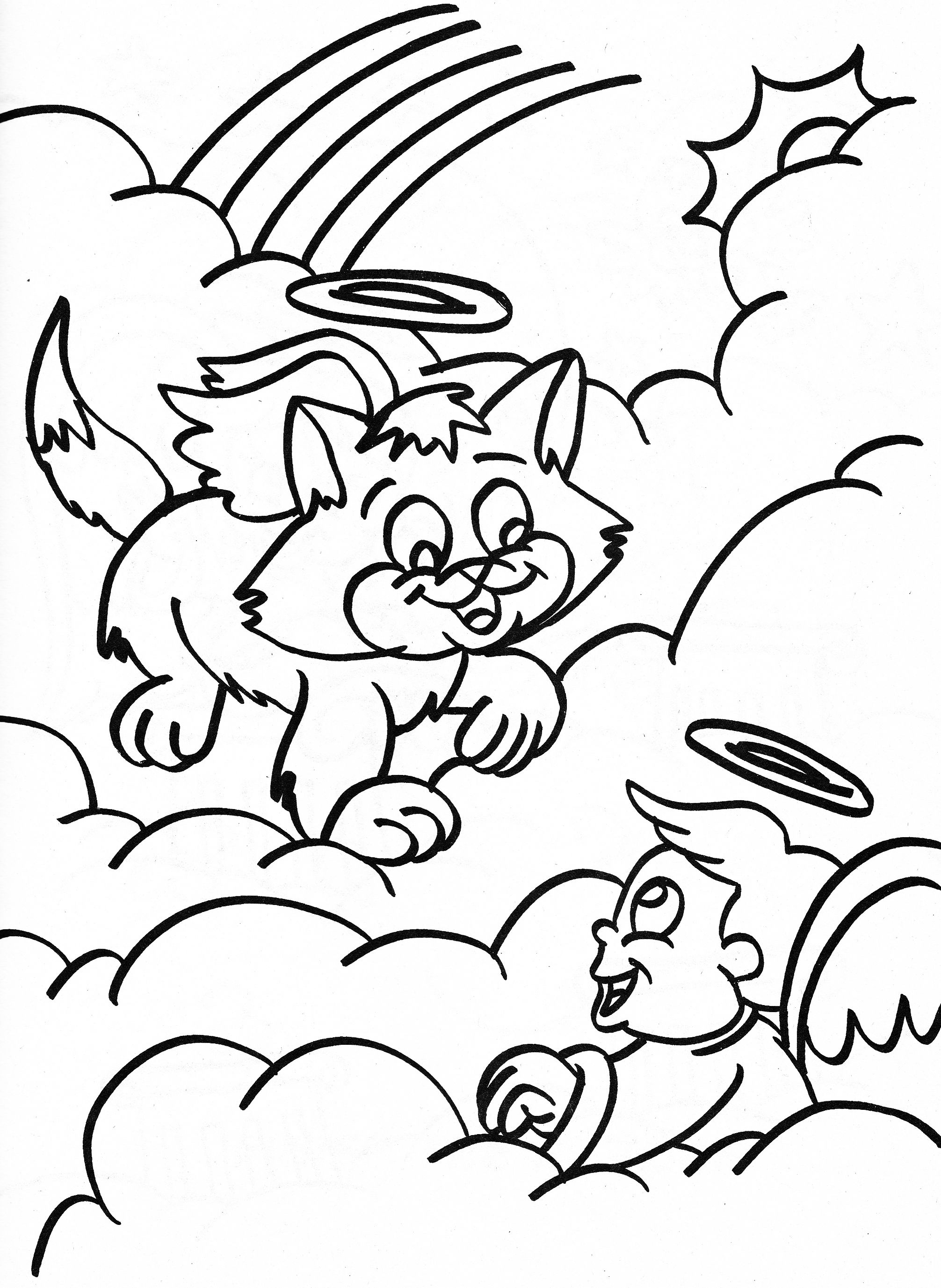 angel coloring page cat angel and boy angel in the clouds - Angel Coloring Page