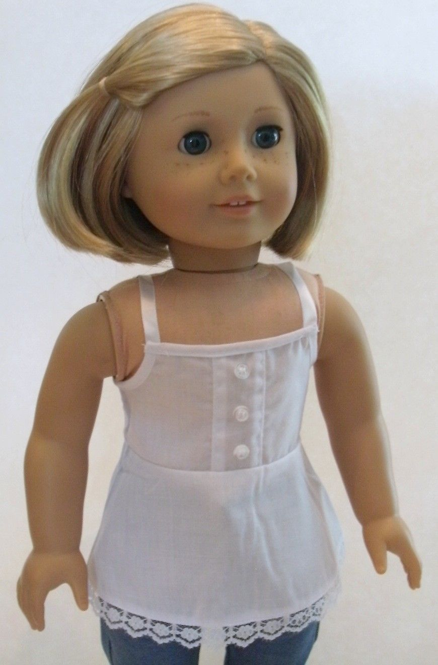 "White w Lace Babydoll Tank Top for 18"" American Girl Doll Clothes Cool Selection 