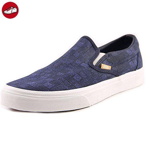 Vans Classic Slip-on, Unisex-Erwachsene Sneakers, Mehrfarbig (Chambray/Leopard/True White), 42 EU