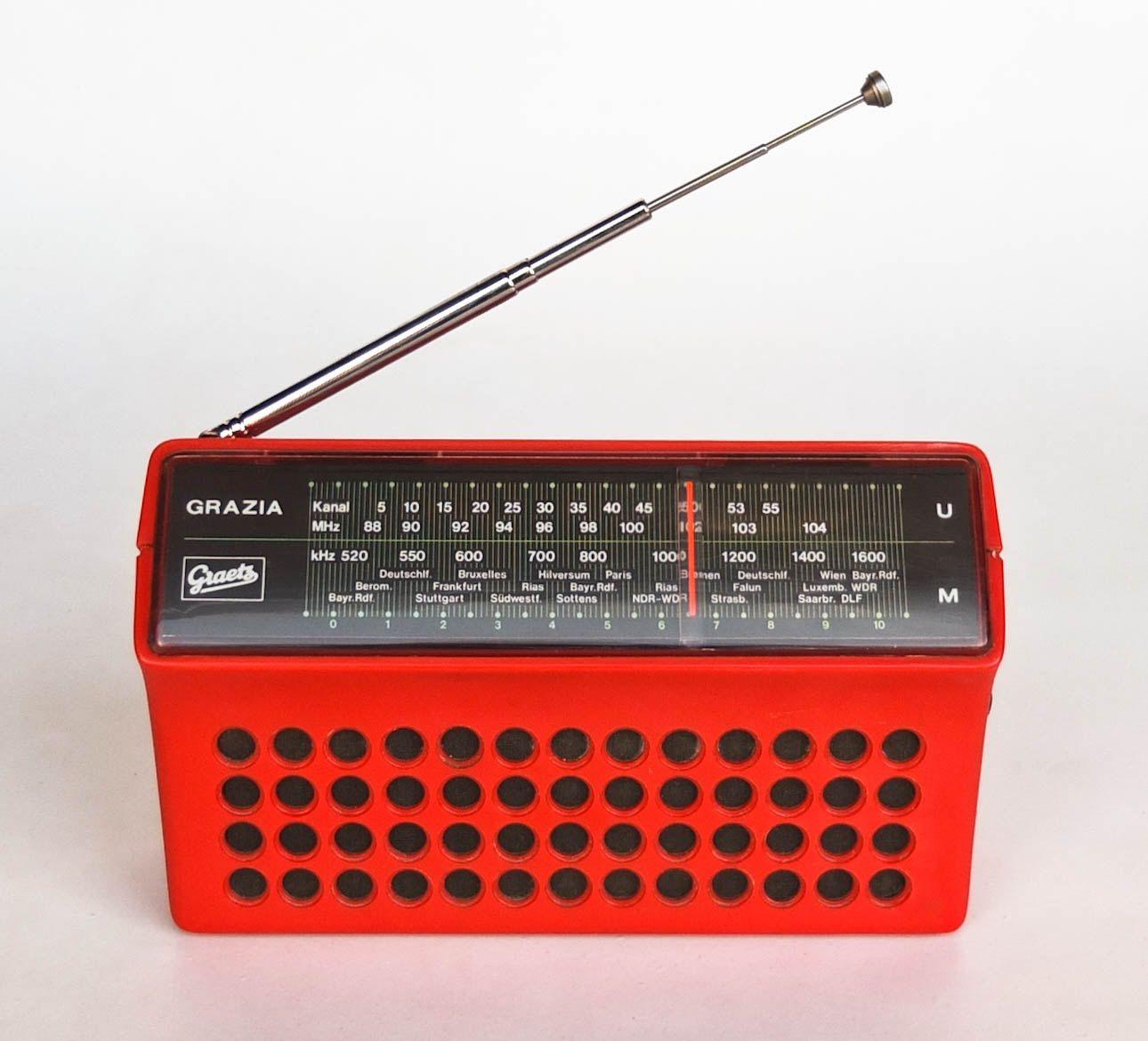 Vintage Mini Radio Transistor / Graetz Grazia Automatic 305 / Portable /  70s Germany / Red