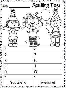 Spelling Test Freebie January Edition  Teacherspayteachers