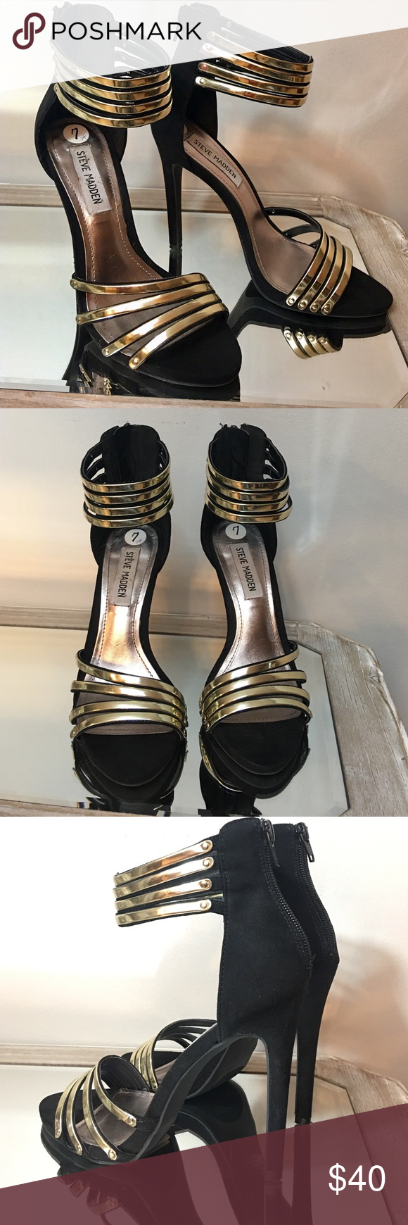 "Steve Madden Black & Gold Open Toe Sandal Heels Excellent condition! Steve Madden Black & Gold Open Toe Strappy Sandal 4.5"" Heels zips up back. 📌Price drop... along w $6 to help with shipping!!! Steve Madden Shoes Heels"