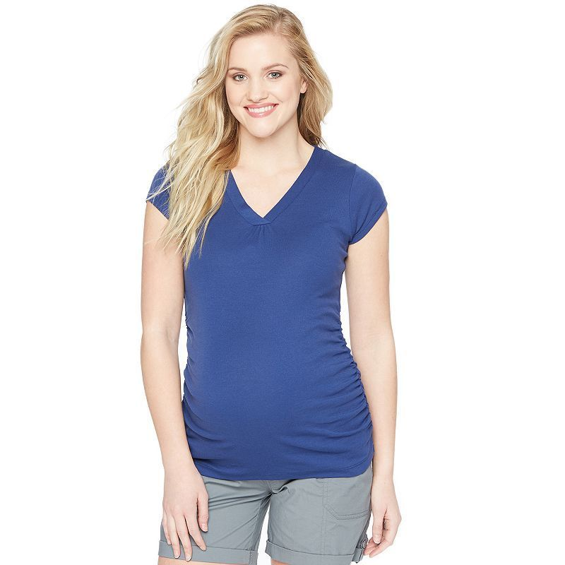 Maternity Oh Baby by Motherhood™ Ruched V-Neck Tee, Women's, Size: Medium, Dark Blue