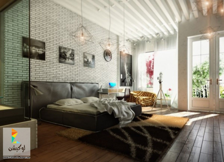 bedroom chandelier white brick wall grey blanket fur rug black head board brown yellowish wooden laminate floor glass door curtain chest of drawer chair