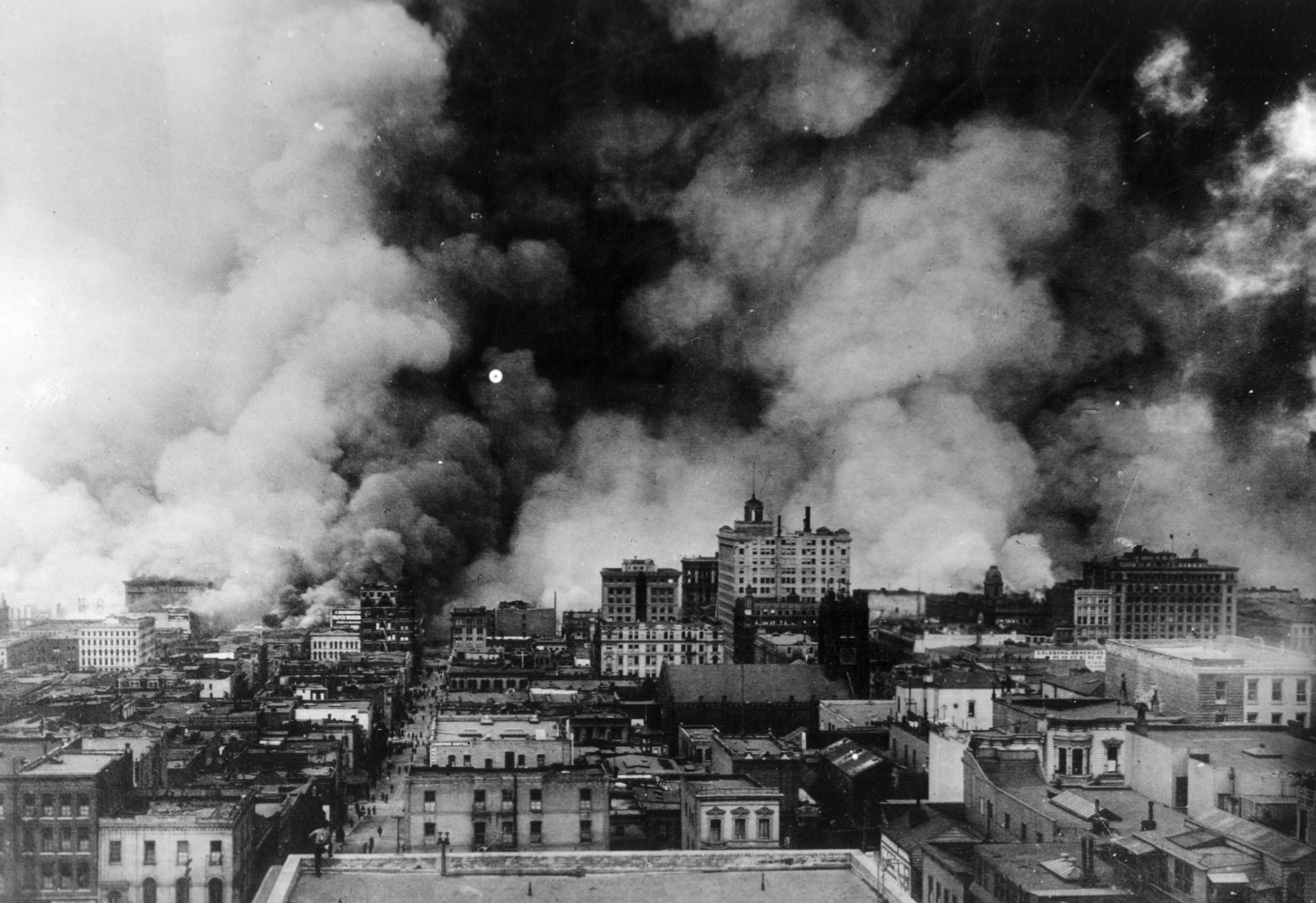 flames from the san francisco fire after the earthquake april 18 1906