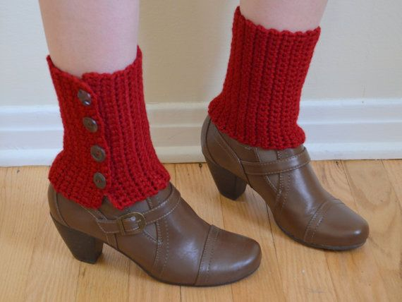 Spats Boot Cuffs Red With Buttons Crochet Ankle Warmers Womens