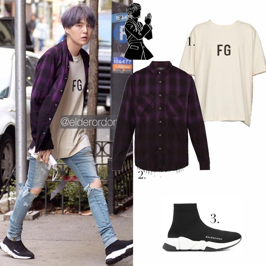 Official Yoongi S Closet On Instagram Suga In 1 Fearofgod Off White Fg Tee 258 Streetwear Men Outfits Bts Inspired Outfits Balenciaga Speed Trainer