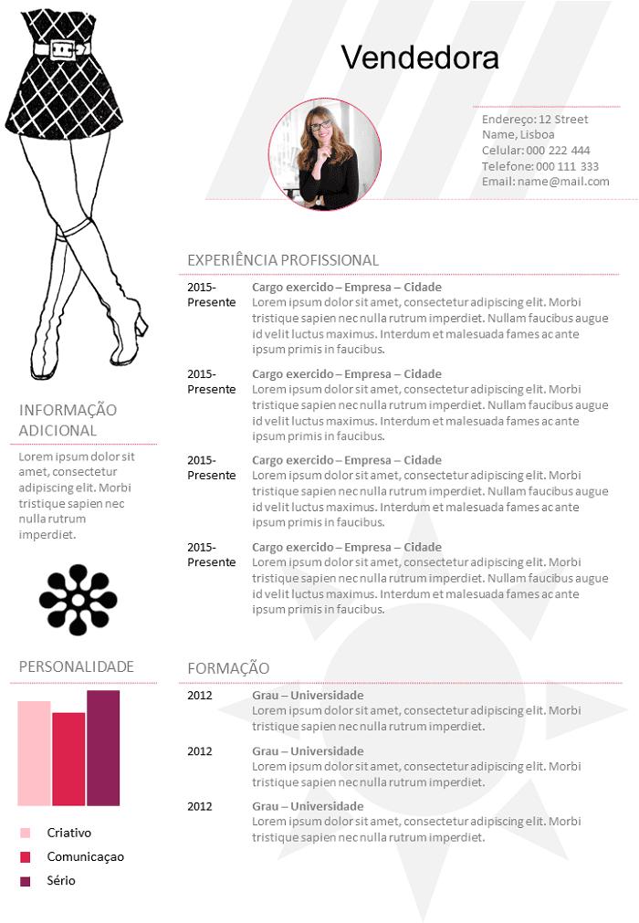 Modelo De Curriculo Vendedora Loja De Roupas Para Baixar Gratis Em 2021 Modelo Curriculum Curriculum Vitae Modelos De Curriculo