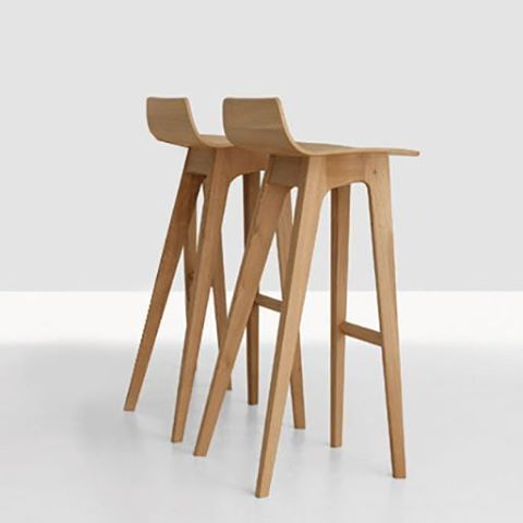 Incredible Set Of 2 Scandi Oak Wood Bar Stools Natural Designer Bar Bralicious Painted Fabric Chair Ideas Braliciousco