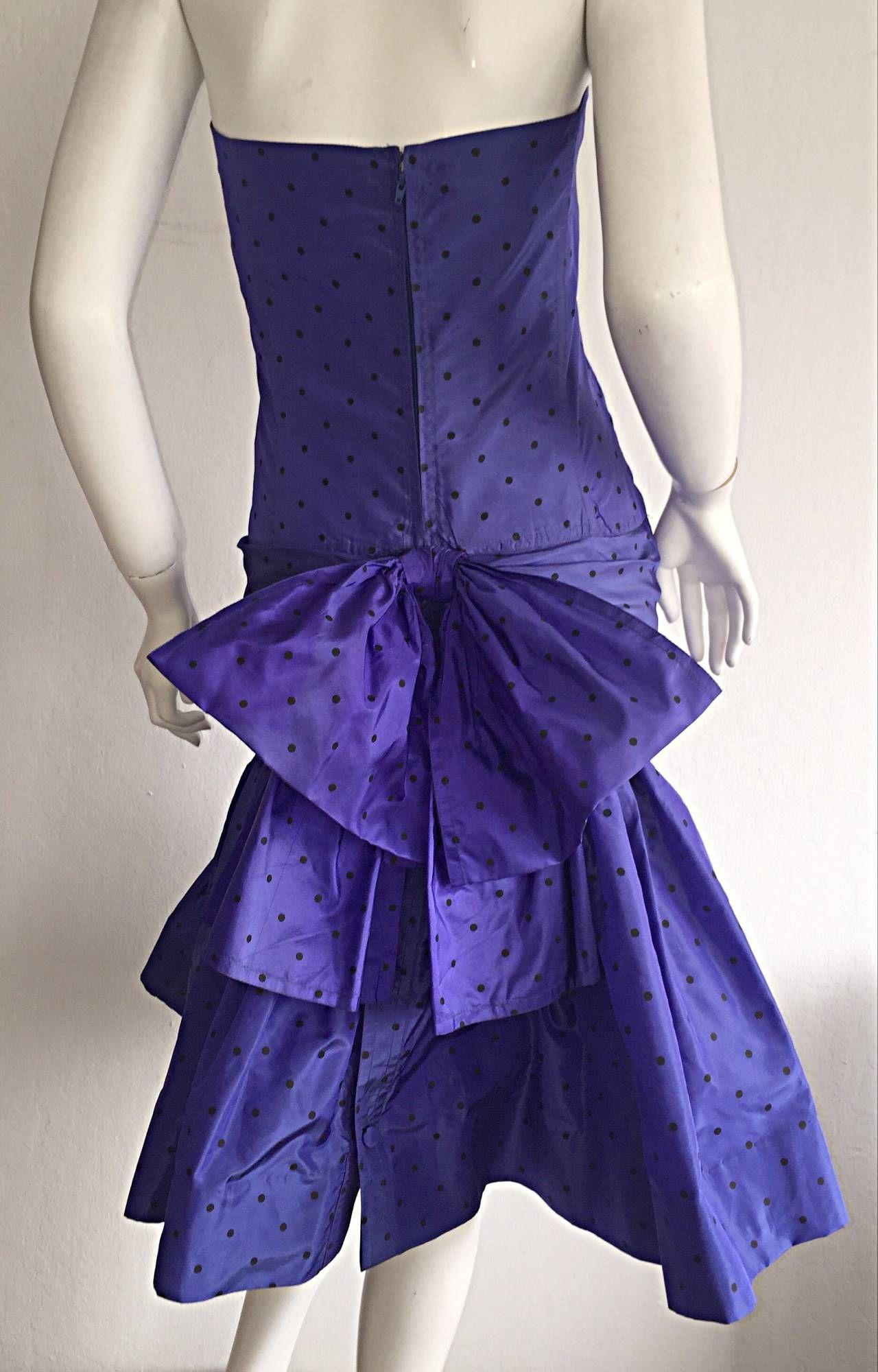 Incredible Vintage Angelo Tarlazzi Paris Royal Blue Polka Dot Avant ...