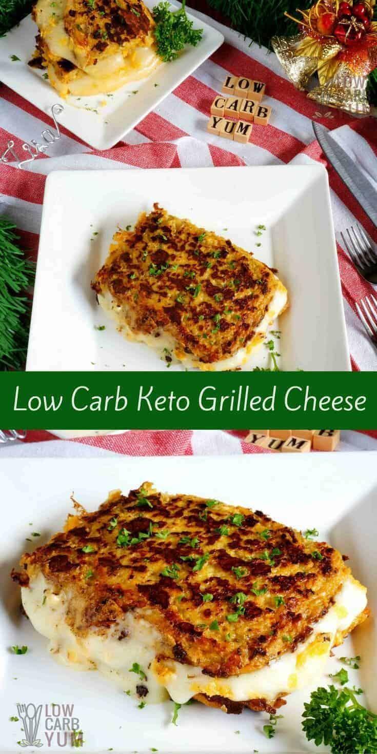 Keto Grilled Cheese Sandwich with Cauliflower Bread #ricedcauliflower