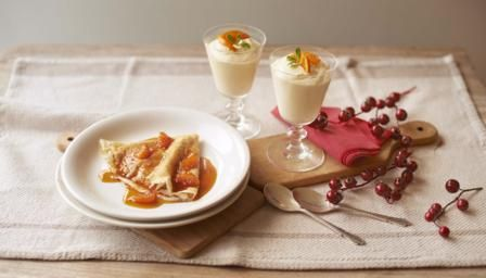 Clementine syllabub and crpes suzette recipe james martin james martin pairs a classic crpes suzette with sticky orange sauce and a creamy citrus syllabub forumfinder Gallery