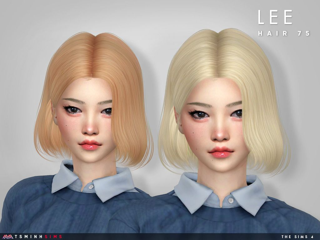 Lee Hair 75 Female Hairstyle Inspired On Korean Girl New Meshes 30 Colors Hq Texture Custom Shadow Map Sims Hair Womens Hairstyles Sims 4 Hair Male
