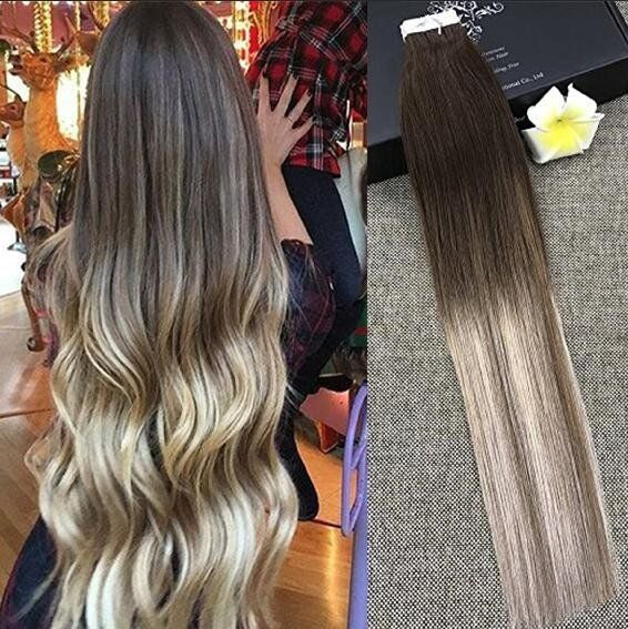 Glue In Extensions Human Hair Blonde Balayage Ombre Color Full