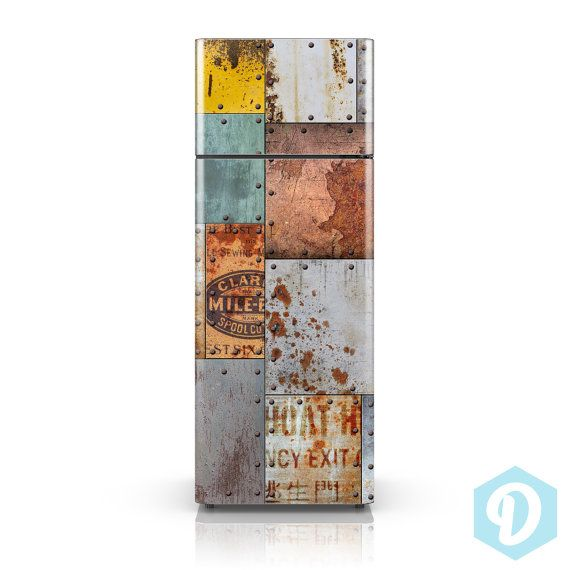 Self Adhesive Vinyl Fridge Decal Vintage Rusty Steel Plate - Custom vinyl decals for metal