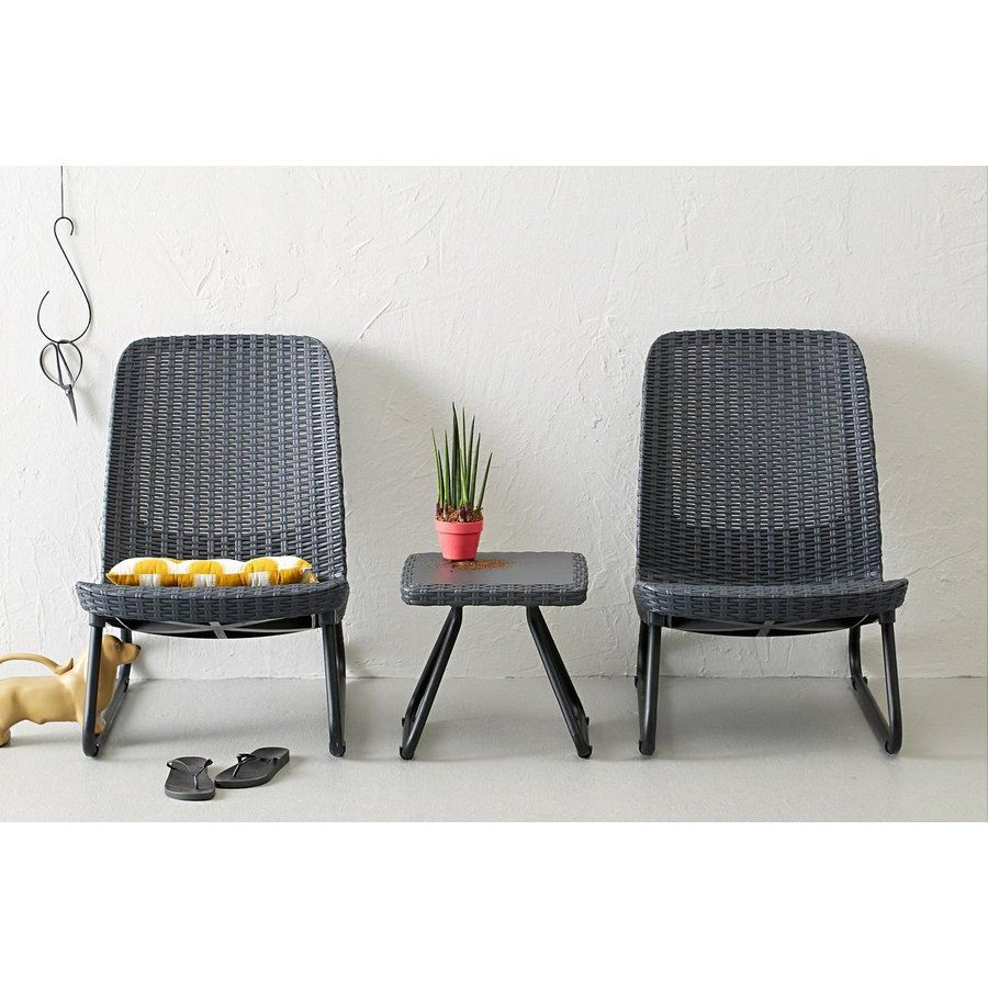Outdoor living   Shop Keter 3 Piece Rio Black Resin Patio Conversation Set  at Lowes comShop Keter 3 Piece Rio Black Resin Patio Conversation Set at Lowes  . Lowes Outdoor Living Sets. Home Design Ideas