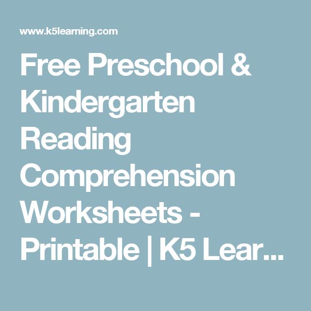 Free Preschool & Kindergarten Reading Comprehension Worksheets ...