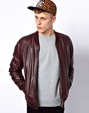 Enlarge ASOS Leather Bomber Jacket. #Menswear #ConGLAMerate #Fashion