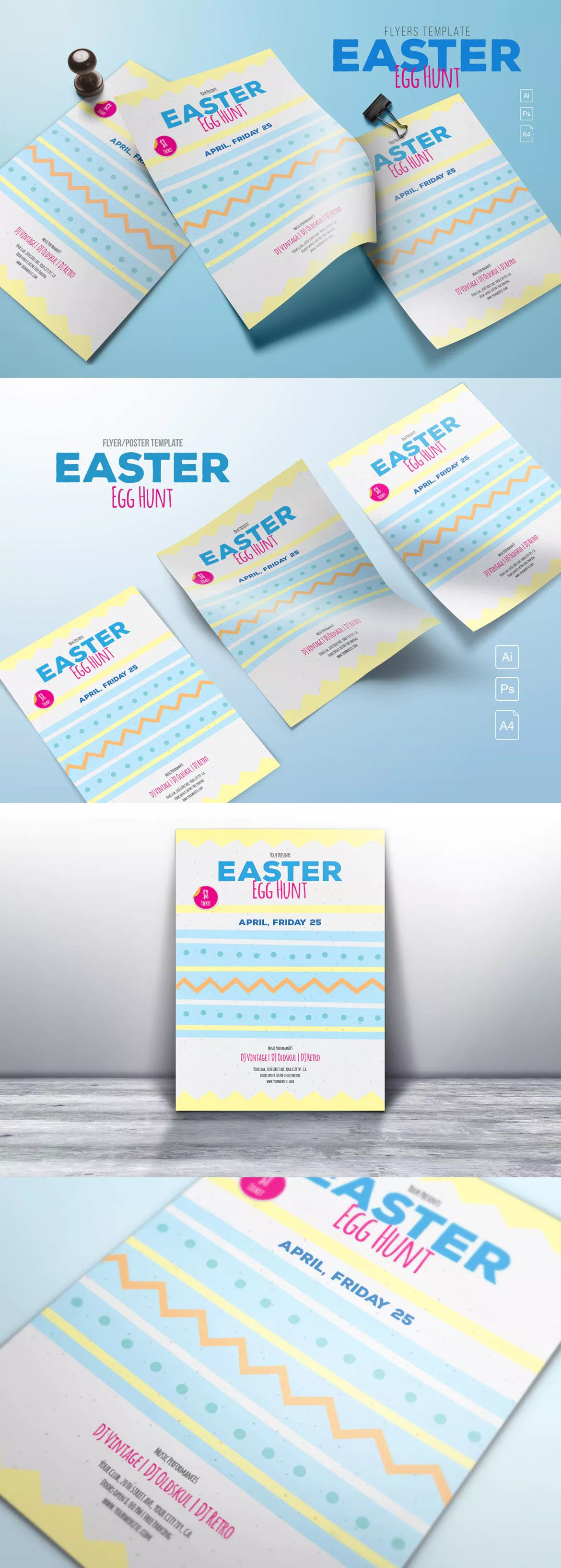Easter Egg Hunt Flyer Template Ai Psd  Flyer Design Templates