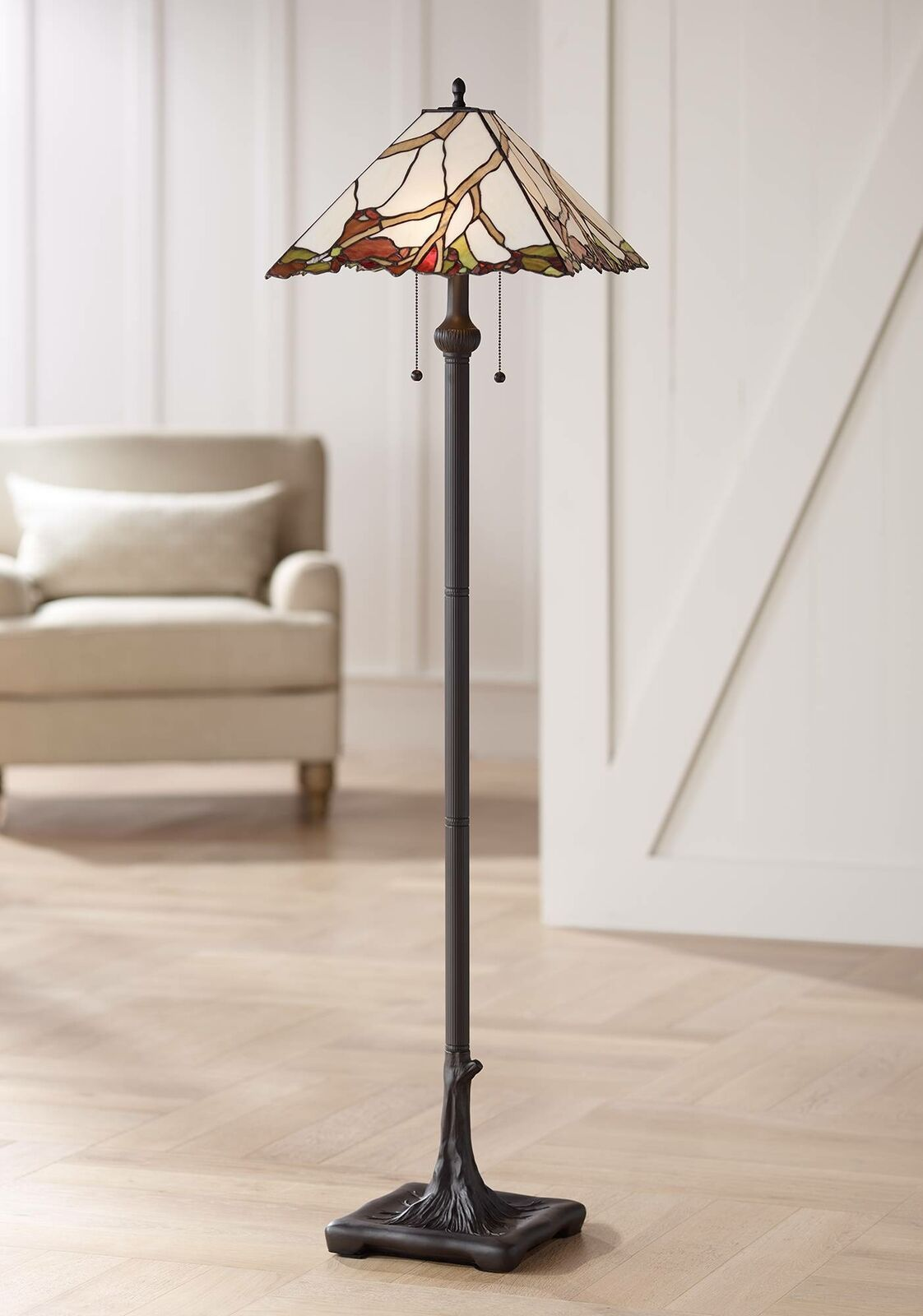 Tiffany Style Floor Lamp Bronze Cherry Blossom Stained Glass For
