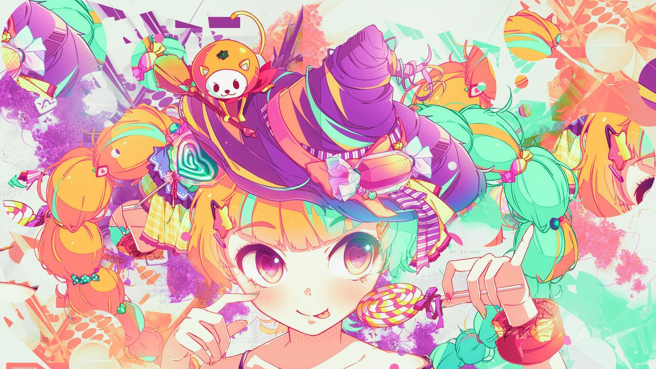 Wallpaper Colorful Kawaii Witch And Sweet Colorful Anime Anime Wallpaper Anime Cute colorful anime wallpapers