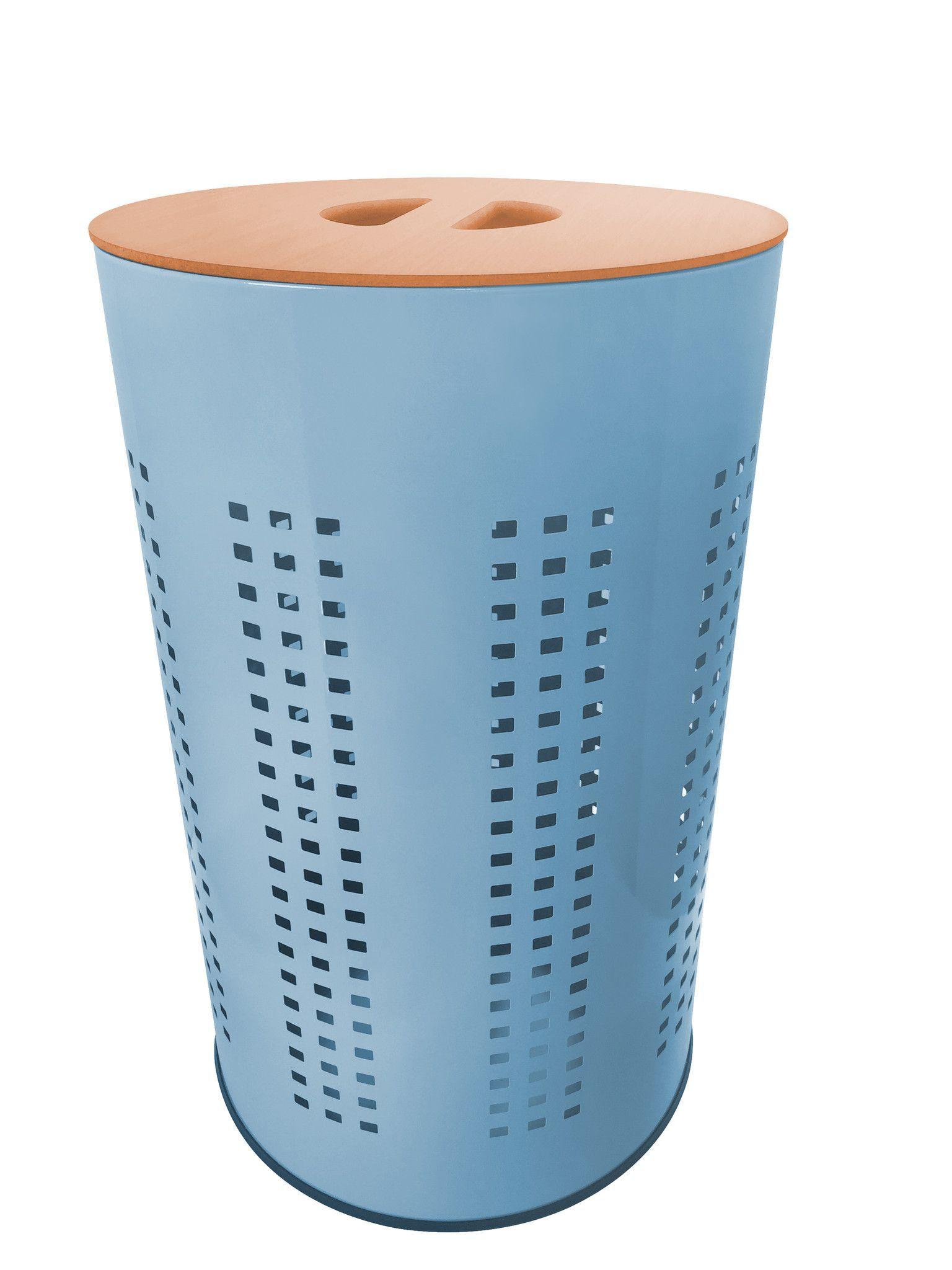 Light Blue Stainless Steel Laundry Bin Hamper 50l Ventilated