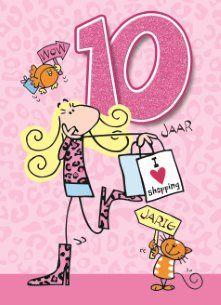 verjaardag meisje 10 jaar verjaardagskaart meisjes   verjaardag leeftijden 10 jaar roze  verjaardag meisje 10 jaar
