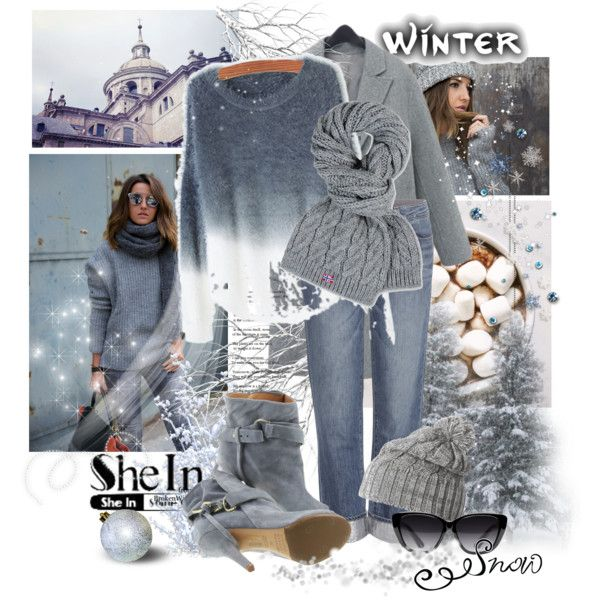 SheIn(sheinside) Grey Ombre Round Neck Mohair Sweater...1221 by susanlo on Polyvore featuring мода, Paige Denim, Maison Margiela, Napapijri, Helly Hansen and Elizabeth and James