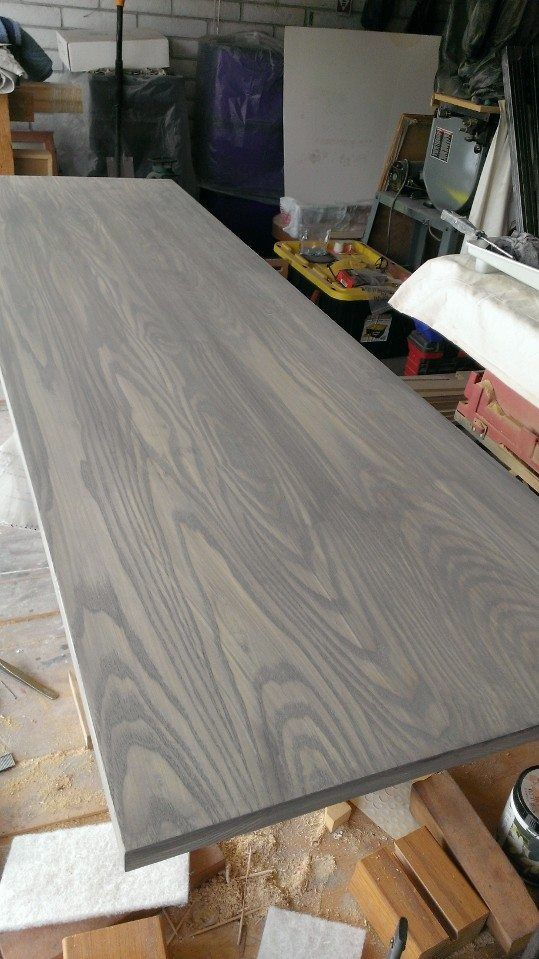 Gray wash on Ash tabletop | Built by Moyer Woodworks in 2019